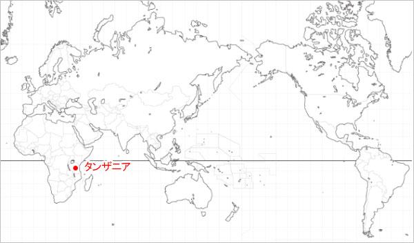 世界地図 タンザナイトの産地の画像