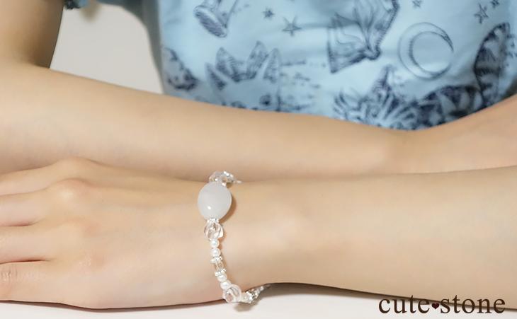翡翠 淡水真珠 水晶 ブレスレット